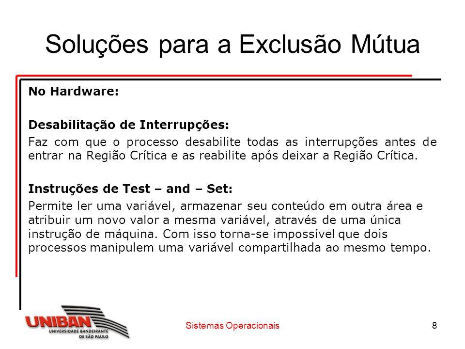 Sistemas Operacionais8 Soluções para a Exclusão Mútua No Hardware: Desabilitação de Interrupções: Faz com que o processo desabilite todas as interrupç