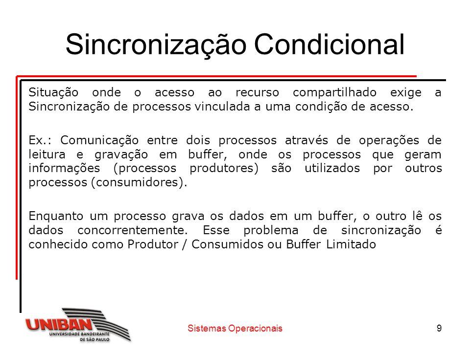 Sistemas Operacionais9 Sincronização Condicional Situação onde o acesso ao recurso compartilhado exige a Sincronização de processos vinculada a uma co