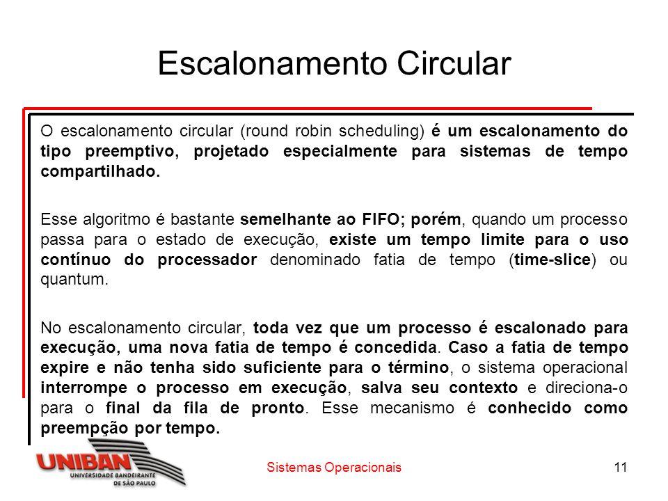 Sistemas Operacionais11 Escalonamento Circular O escalonamento circular (round robin scheduling) é um escalonamento do tipo preemptivo, projetado espe
