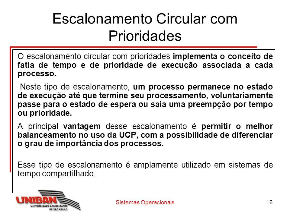 Sistemas Operacionais16 Escalonamento Circular com Prioridades O escalonamento circular com prioridades implementa o conceito de fatia de tempo e de p