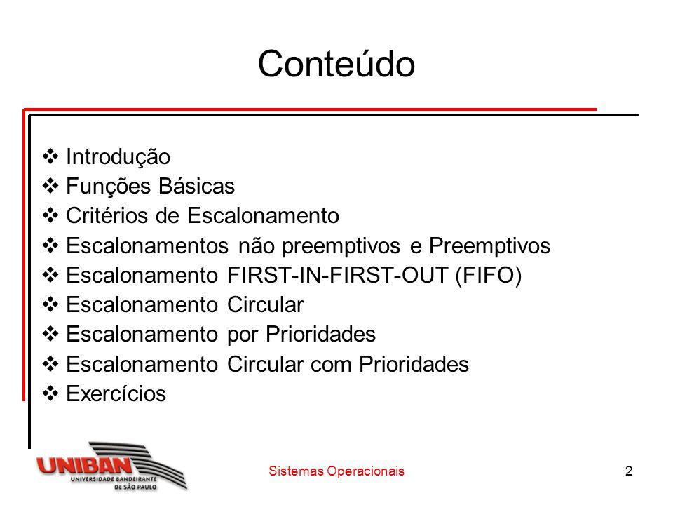 Sistemas Operacionais13 Escalonamento Circular A principal vantagem do escalonamento circular é não permitir que um processo monopolize a UCP, sendo o tempo máximo alocado continuamente igual à fatia de tempo definido no sistema.