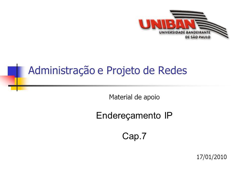 Administração e Projeto de Redes Material de apoio Endereçamento IP Cap.7 17/01/2010