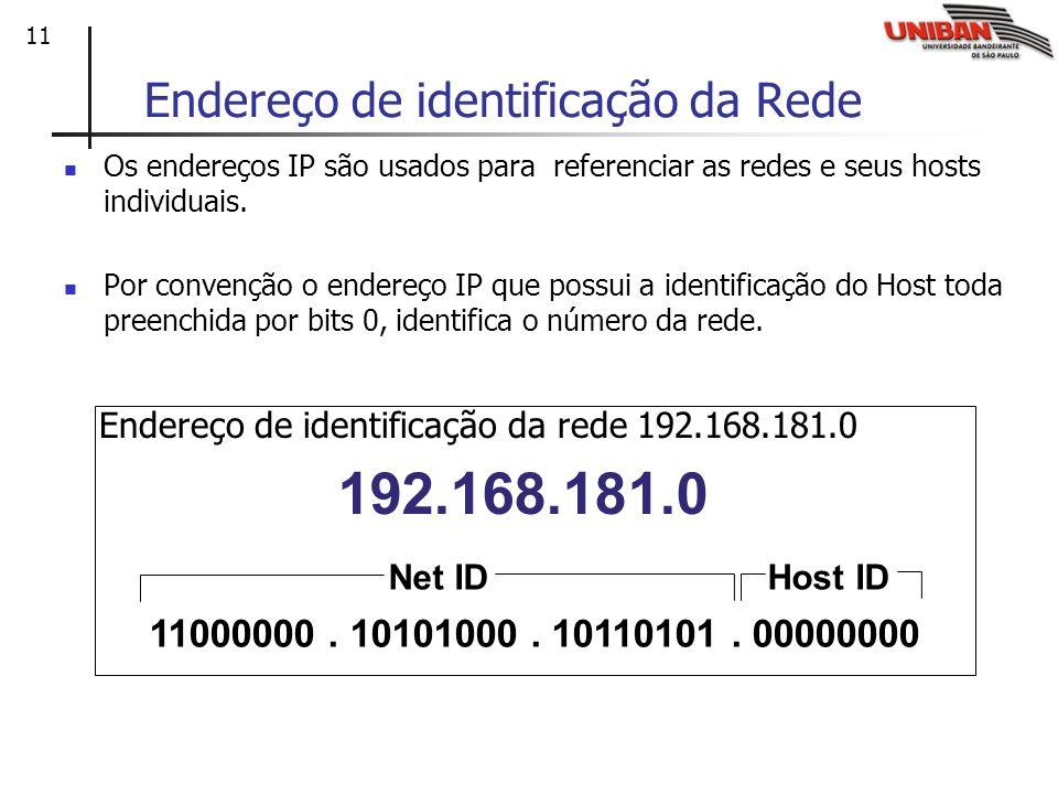 11 Endereço de identificação da Rede Os endereços IP são usados para referenciar as redes e seus hosts individuais. Por convenção o endereço IP que po