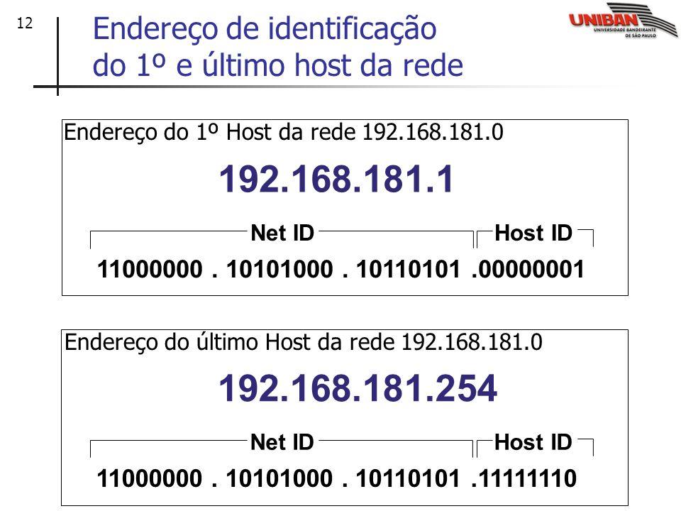12 Endereço de identificação do 1º e último host da rede 192.168.181.254 11000000. 10101000. 10110101.11111110 Host IDNet ID 192.168.181.1 11000000. 1
