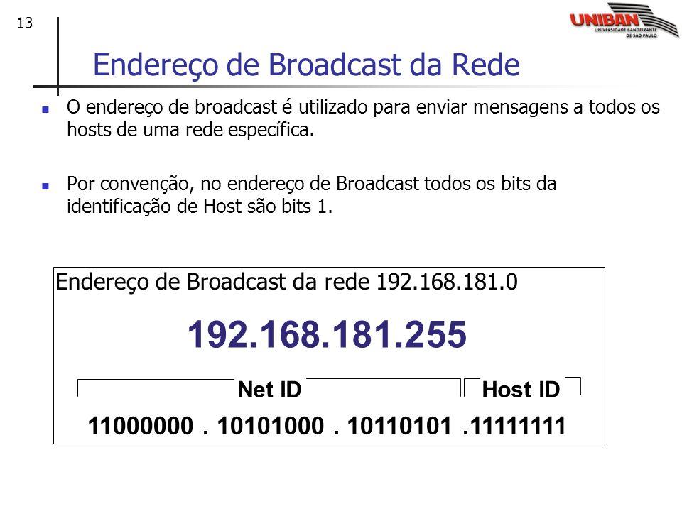 13 Endereço de Broadcast da Rede O endereço de broadcast é utilizado para enviar mensagens a todos os hosts de uma rede específica. Por convenção, no