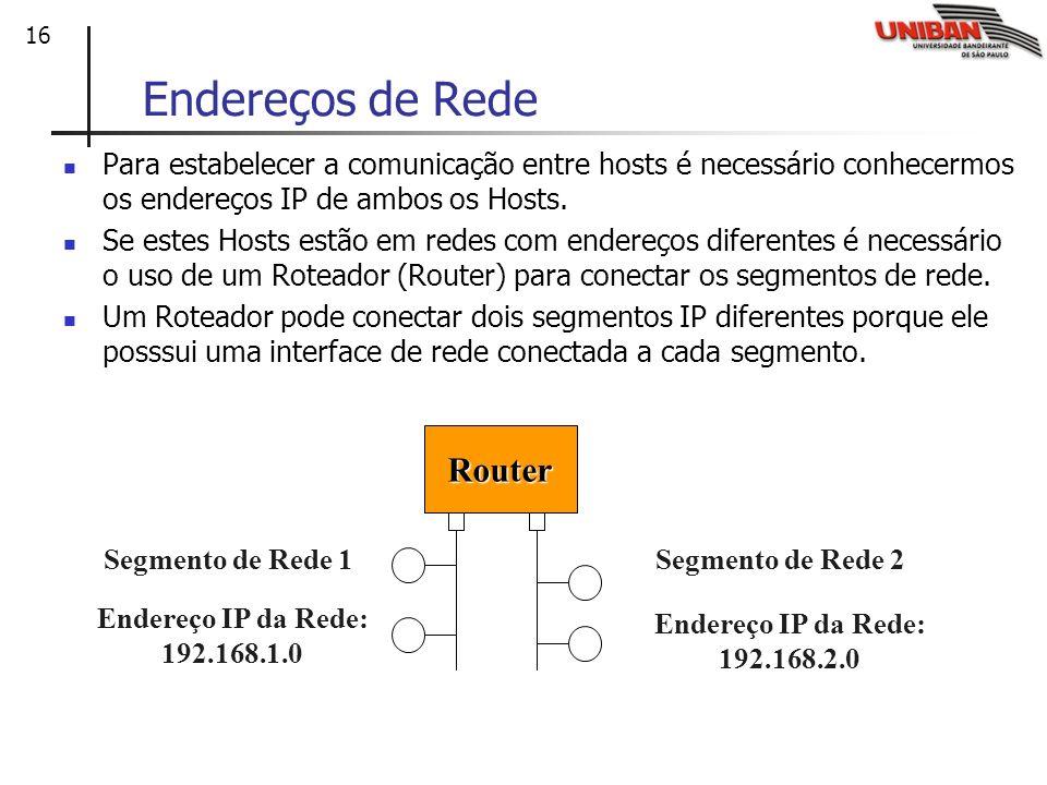 16 Endereços de Rede Para estabelecer a comunicação entre hosts é necessário conhecermos os endereços IP de ambos os Hosts. Se estes Hosts estão em re