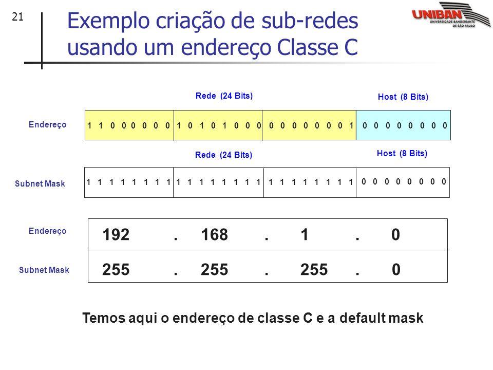 21 Endereço Rede (24 Bits) Host (8 Bits) 1 1 1 1 0 0 0 0 255. 255. 255. 0 Subnet Mask 1 1 1 1 Host (8 Bits) Rede (24 Bits) 1 1 1 1 1 1 0 0 0 0 0 01 0