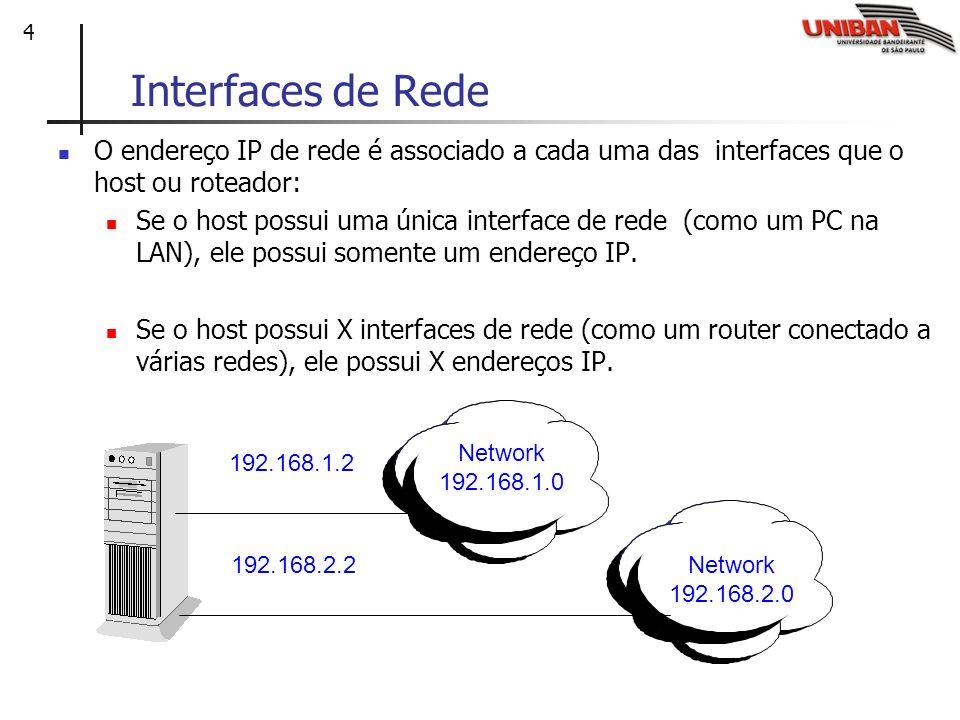 4 Interfaces de Rede O endereço IP de rede é associado a cada uma das interfaces que o host ou roteador: Se o host possui uma única interface de rede (como um PC na LAN), ele possui somente um endereço IP.