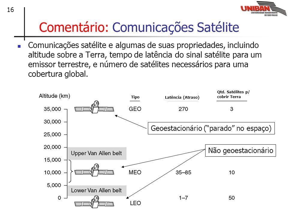 16 Comentário: Comunicações Satélite Comunicações satélite e algumas de suas propriedades, incluindo altitude sobre a Terra, tempo de latência do sina