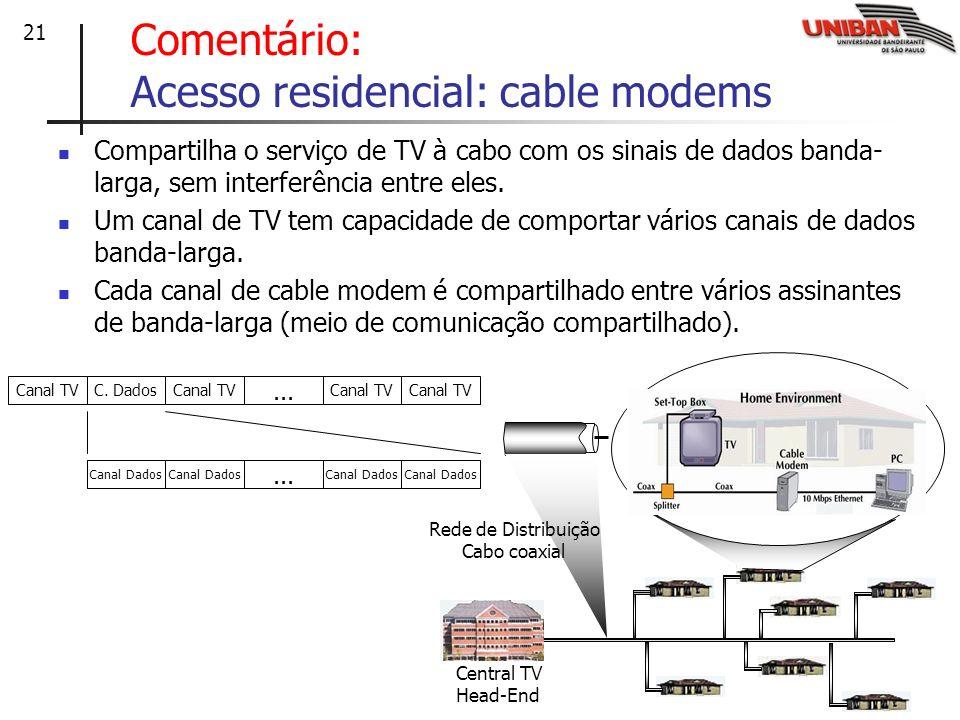21 Comentário: Acesso residencial: cable modems Compartilha o serviço de TV à cabo com os sinais de dados banda- larga, sem interferência entre eles.