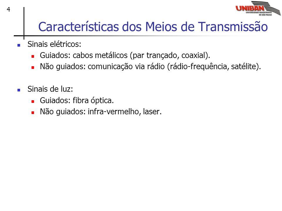 4 Características dos Meios de Transmissão Sinais elétricos: Guiados: cabos metálicos (par trançado, coaxial). Não guiados: comunicação via rádio (rád