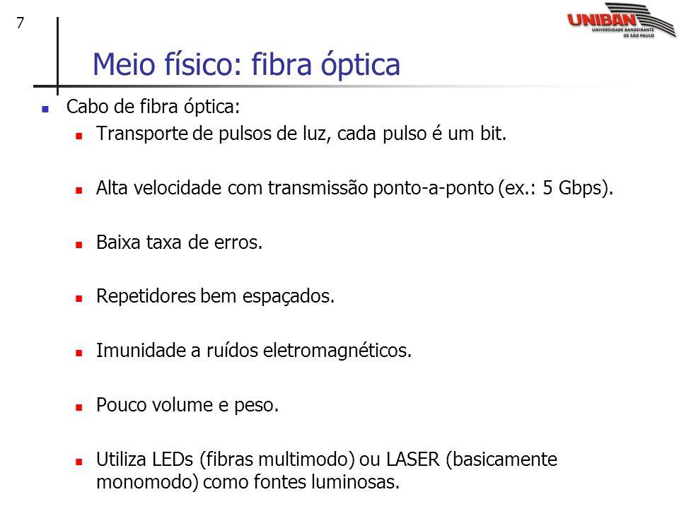 7 Meio físico: fibra óptica Cabo de fibra óptica: Transporte de pulsos de luz, cada pulso é um bit. Alta velocidade com transmissão ponto-a-ponto (ex.