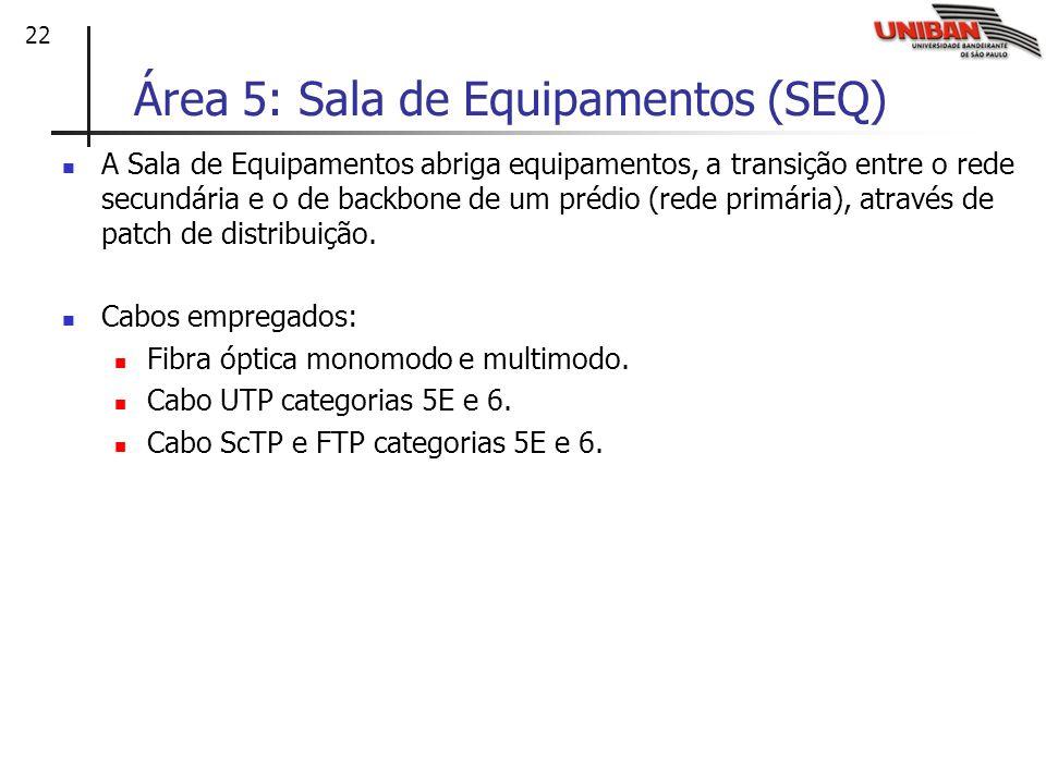 22 Área 5: Sala de Equipamentos (SEQ) A Sala de Equipamentos abriga equipamentos, a transição entre o rede secundária e o de backbone de um prédio (re