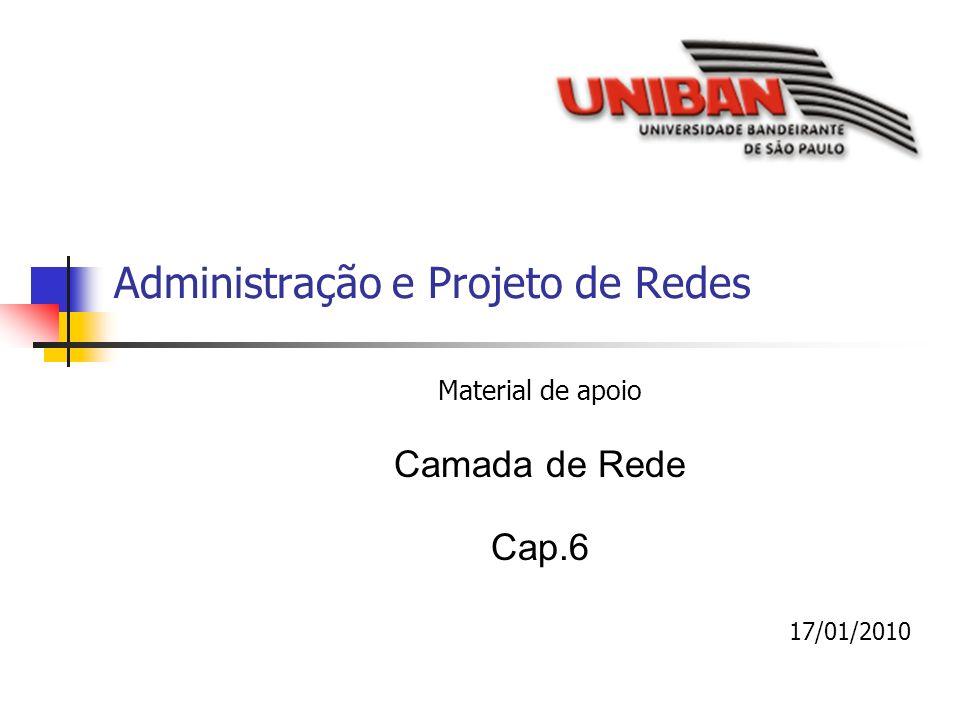Administração e Projeto de Redes Material de apoio Camada de Rede Cap.6 17/01/2010