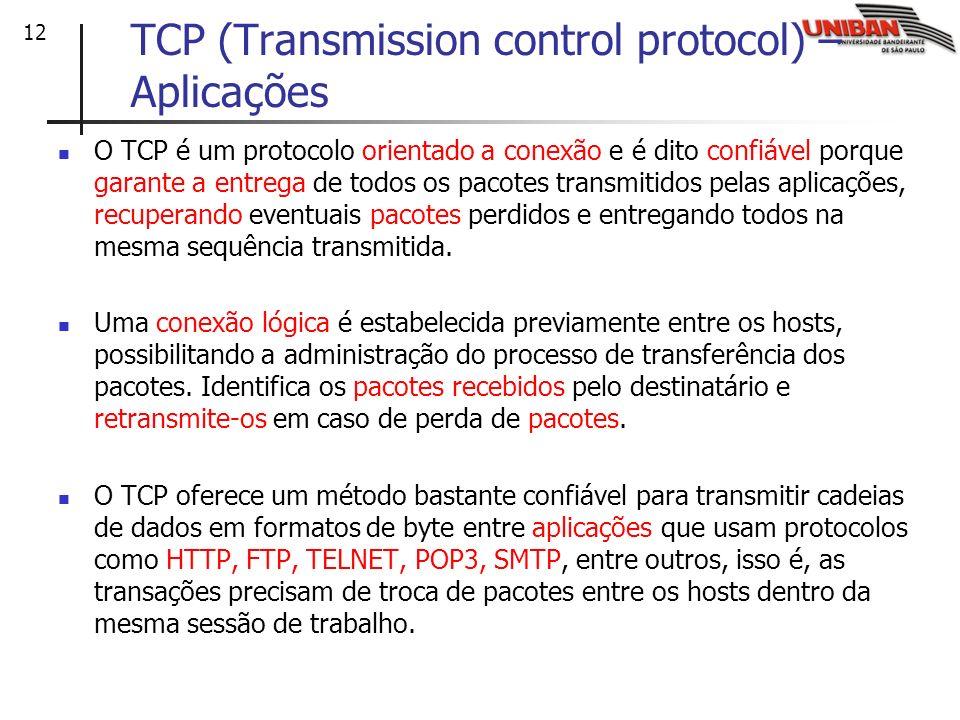 12 TCP (Transmission control protocol) – Aplicações O TCP é um protocolo orientado a conexão e é dito confiável porque garante a entrega de todos os p