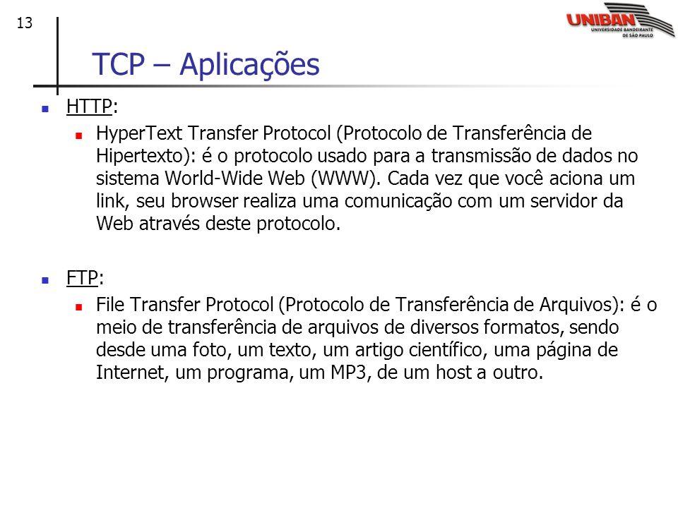 13 TCP – Aplicações HTTP: HyperText Transfer Protocol (Protocolo de Transferência de Hipertexto): é o protocolo usado para a transmissão de dados no s