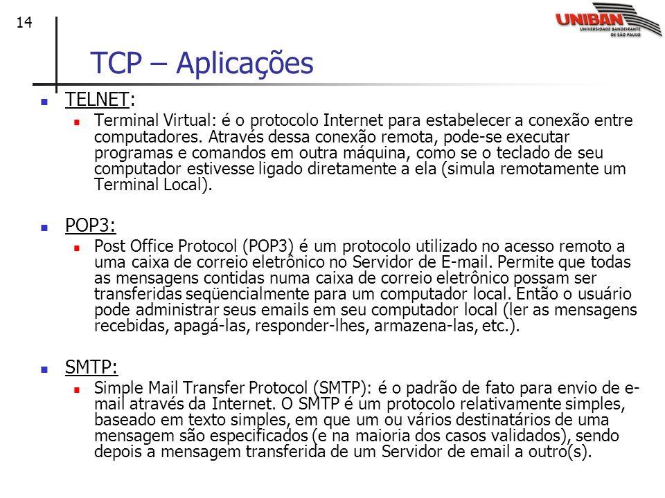 14 TCP – Aplicações TELNET: Terminal Virtual: é o protocolo Internet para estabelecer a conexão entre computadores. Através dessa conexão remota, pode