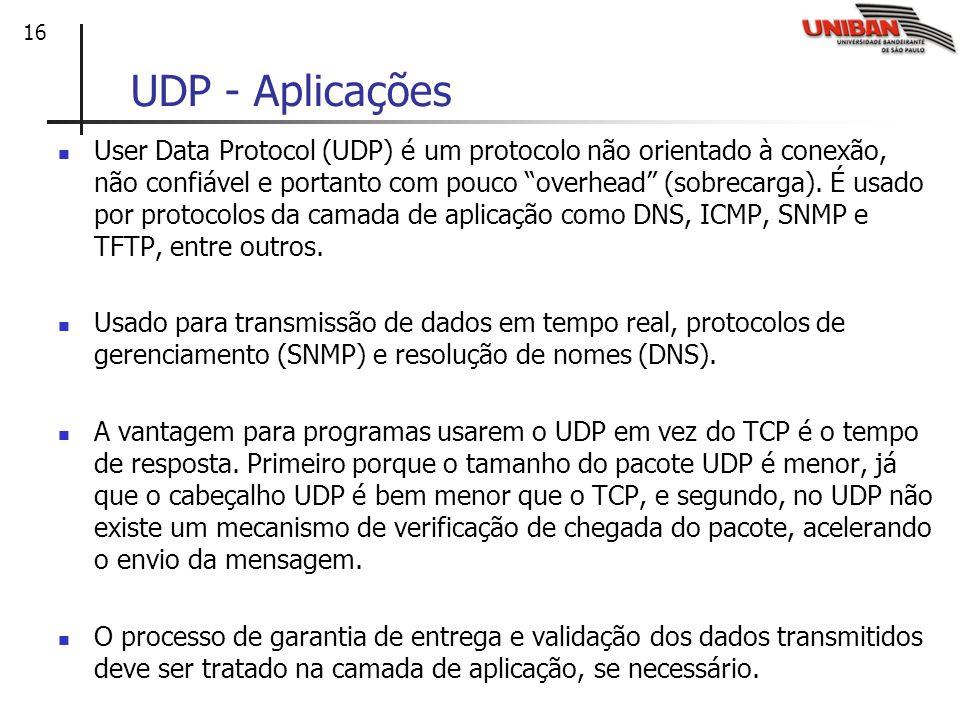 16 UDP - Aplicações User Data Protocol (UDP) é um protocolo não orientado à conexão, não confiável e portanto com pouco overhead (sobrecarga). É usado