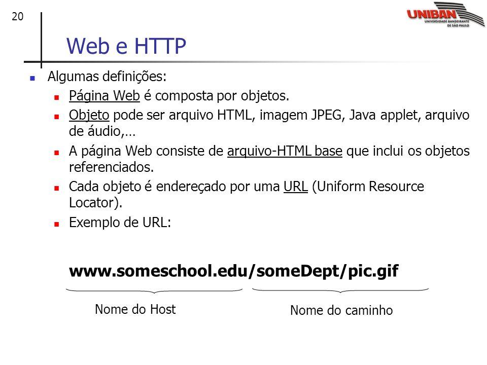 20 Web e HTTP Algumas definições: Página Web é composta por objetos. Objeto pode ser arquivo HTML, imagem JPEG, Java applet, arquivo de áudio,… A pági