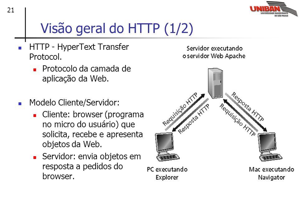 21 Visão geral do HTTP (1/2) HTTP - HyperText Transfer Protocol. Protocolo da camada de aplicação da Web. Modelo Cliente/Servidor: Cliente: browser (p