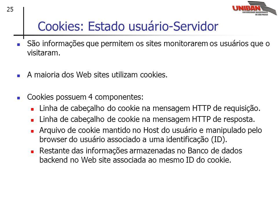 25 Cookies: Estado usuário-Servidor São informações que permitem os sites monitorarem os usuários que o visitaram. A maioria dos Web sites utilizam co