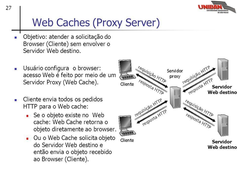 27 Web Caches (Proxy Server) Objetivo: atender a solicitação do Browser (Cliente) sem envolver o Servidor Web destino. Usuário configura o browser: ac