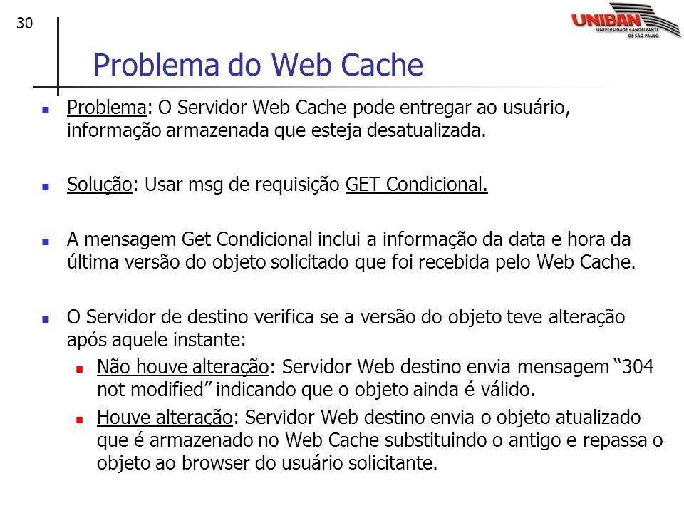 30 Problema do Web Cache Problema: O Servidor Web Cache pode entregar ao usuário, informação armazenada que esteja desatualizada. Solução: Usar msg de