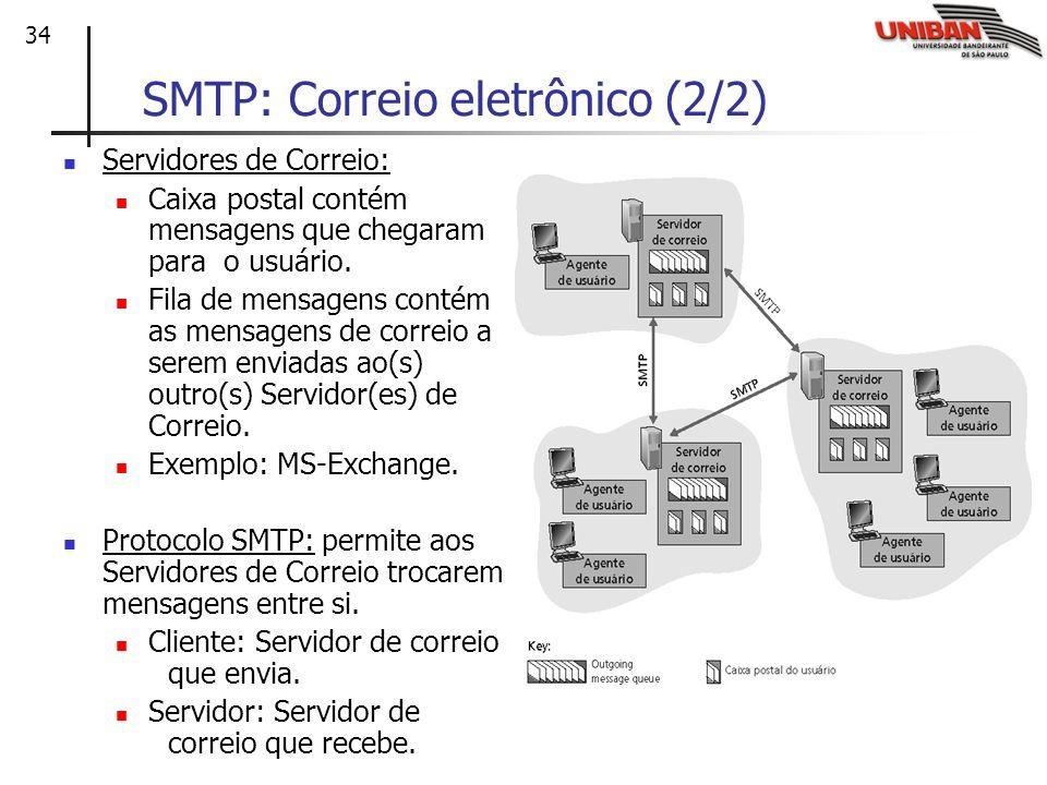 34 SMTP: Correio eletrônico (2/2) Servidores de Correio: Caixa postal contém mensagens que chegaram para o usuário. Fila de mensagens contém as mensag