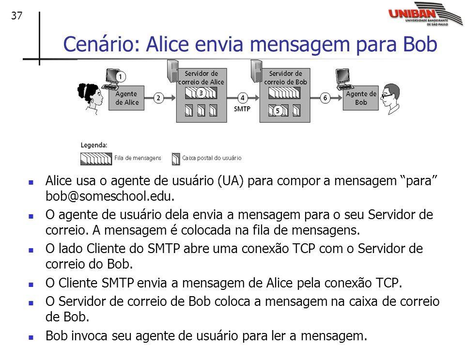 37 Cenário: Alice envia mensagem para Bob Alice usa o agente de usuário (UA) para compor a mensagem para bob@someschool.edu. O agente de usuário dela