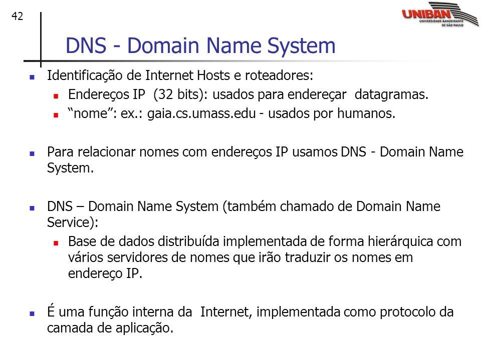 42 DNS - Domain Name System Identificação de Internet Hosts e roteadores: Endereços IP (32 bits): usados para endereçar datagramas. nome: ex.: gaia.cs