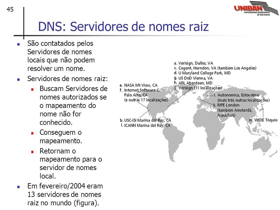 45 DNS: Servidores de nomes raiz São contatados pelos Servidores de nomes locais que não podem resolver um nome. Servidores de nomes raiz: Buscam Serv