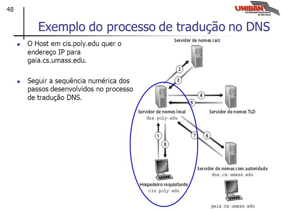 48 Exemplo do processo de tradução no DNS O Host em cis.poly.edu quer o endereço IP para gaia.cs.umass.edu. Seguir a sequência numérica dos passos des