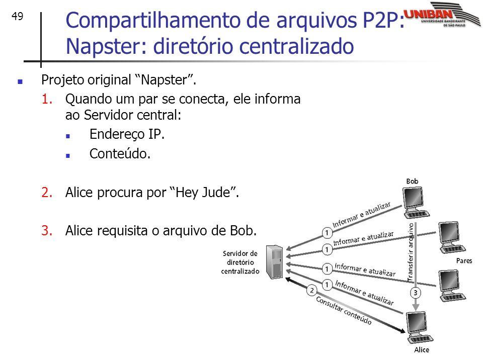 49 Compartilhamento de arquivos P2P: Napster: diretório centralizado Projeto original Napster. 1.Quando um par se conecta, ele informa ao Servidor cen