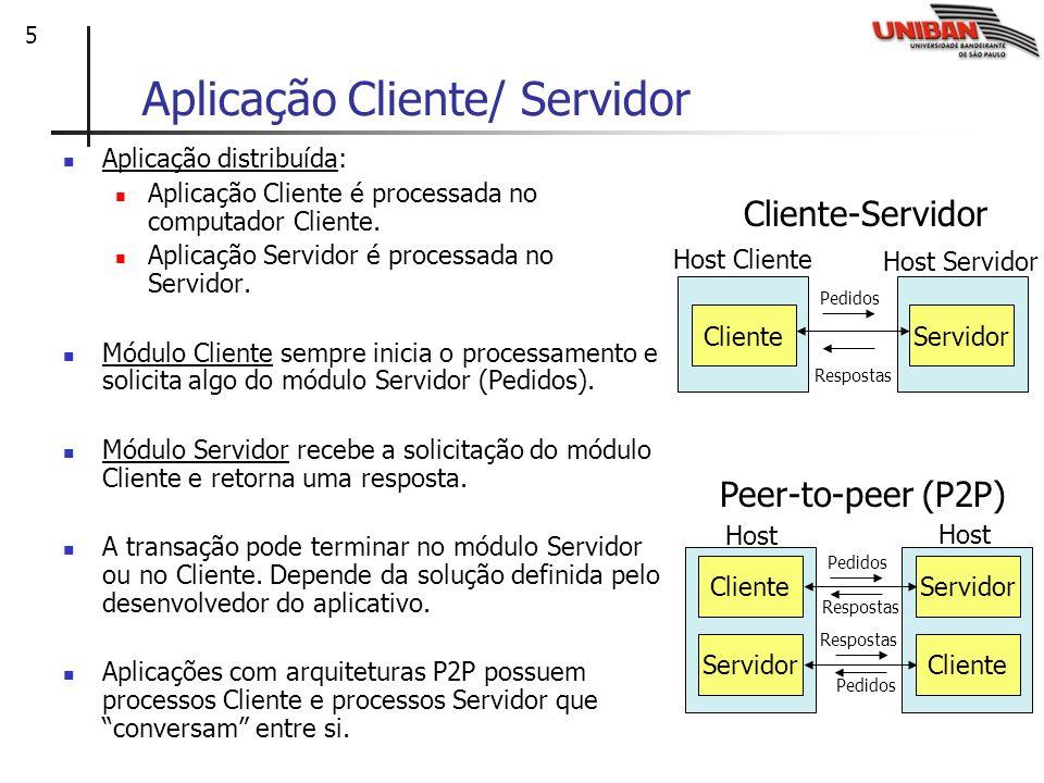 5 Aplicação Cliente/ Servidor Aplicação distribuída: Aplicação Cliente é processada no computador Cliente. Aplicação Servidor é processada no Servidor