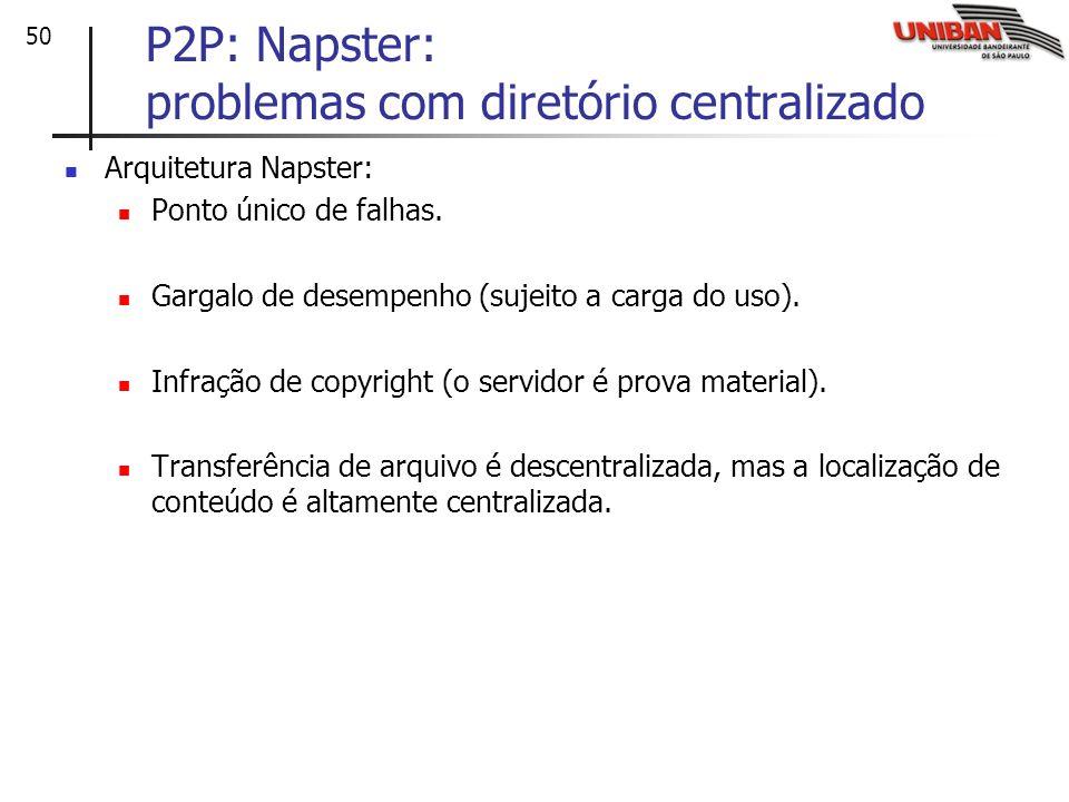 50 P2P: Napster: problemas com diretório centralizado Arquitetura Napster: Ponto único de falhas. Gargalo de desempenho (sujeito a carga do uso). Infr