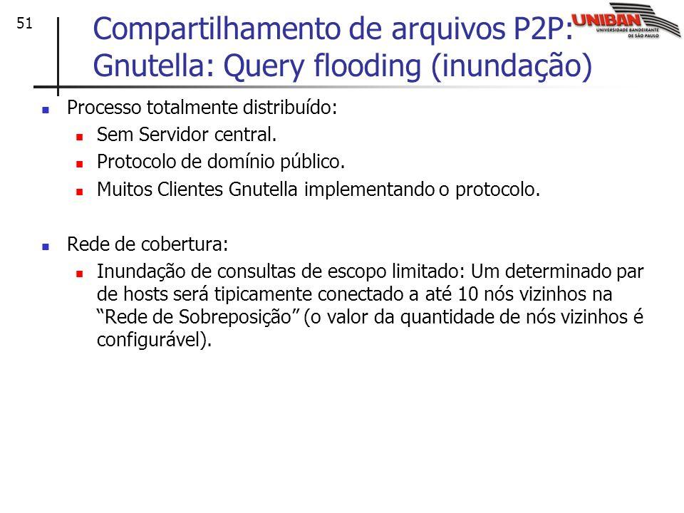 51 Compartilhamento de arquivos P2P: Gnutella: Query flooding (inundação) Processo totalmente distribuído: Sem Servidor central. Protocolo de domínio