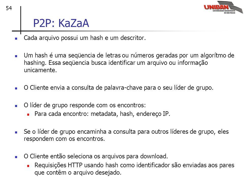 54 P2P: KaZaA Cada arquivo possui um hash e um descritor. Um hash é uma seqüencia de letras ou números geradas por um algorítmo de hashing. Essa seqüe