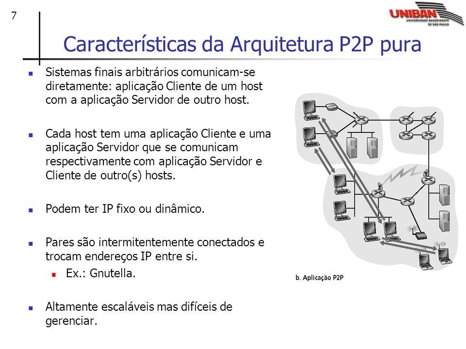 7 Características da Arquitetura P2P pura Sistemas finais arbitrários comunicam-se diretamente: aplicação Cliente de um host com a aplicação Servidor