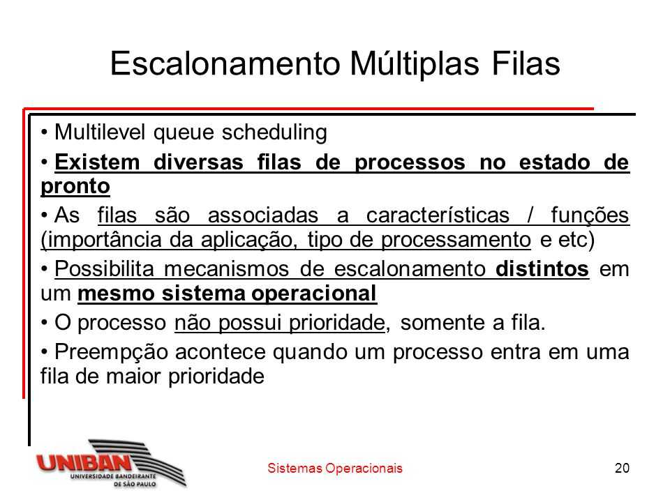 Sistemas Operacionais20 Escalonamento Múltiplas Filas Multilevel queue scheduling Existem diversas filas de processos no estado de pronto As filas são