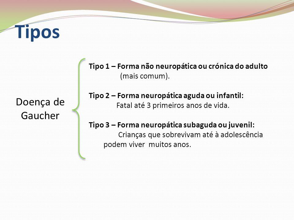 Tipos Doença de Gaucher Tipo 1 – Forma não neuropática ou crónica do adulto (mais comum). Tipo 2 – Forma neuropática aguda ou infantil: Fatal até 3 pr