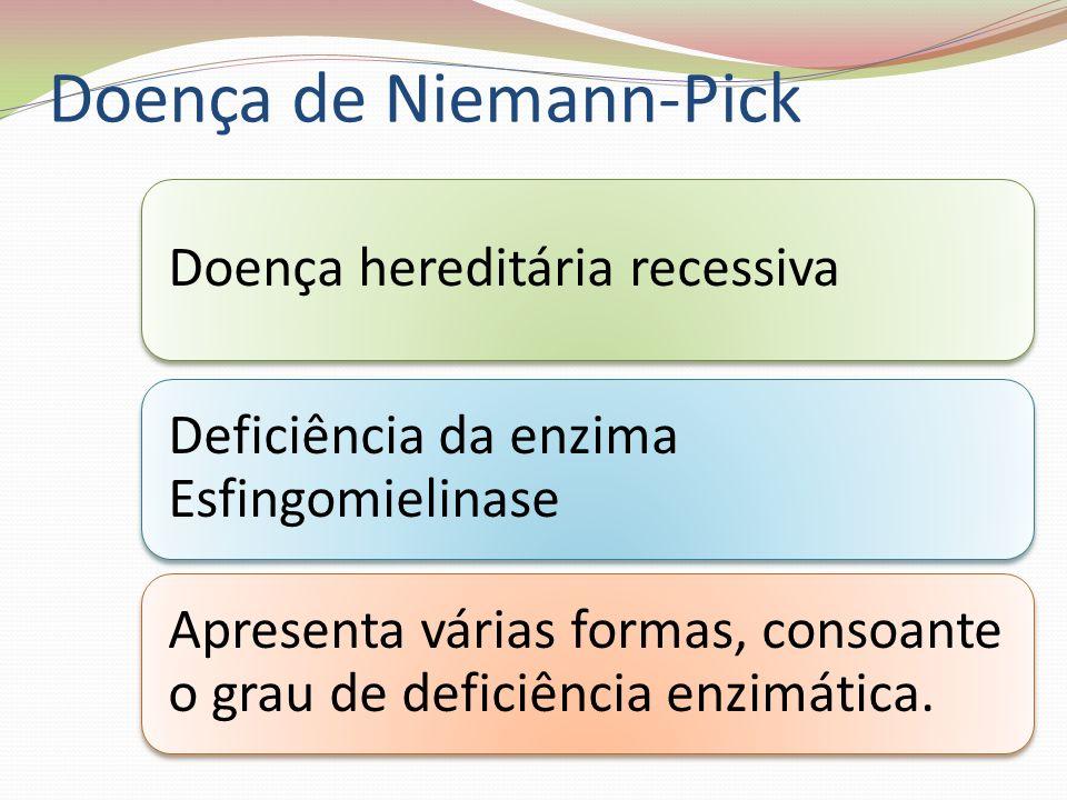 Tipos da Doença Tipos A e B Deficiência ou ausência de esfingomielinase Acumulação de esfingomielina nas células Ausência de síntese de mielina