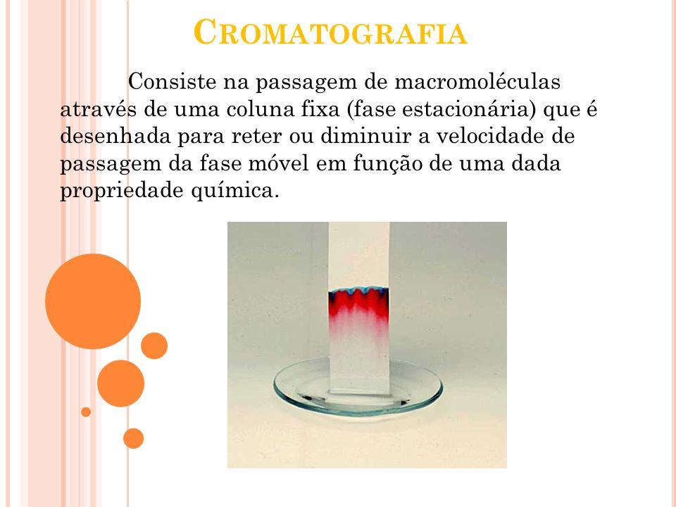 C ROMATOGRAFIA Consiste na passagem de macromoléculas através de uma coluna fixa (fase estacionária) que é desenhada para reter ou diminuir a velocida