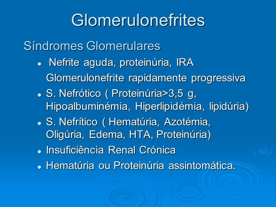 Glomerulonefrites Síndromes Glomerulares Nefrite aguda, proteinúria, IRA Nefrite aguda, proteinúria, IRA Glomerulonefrite rapidamente progressiva S. N