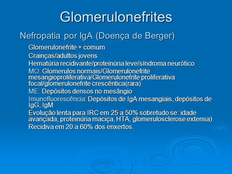 Glomerulonefrites Nefropatia por IgA (Doença de Berger) Glomerulonefrite + comum Crainças/adultos jovens Hematúria recidivante/proteinúria leve/síndro