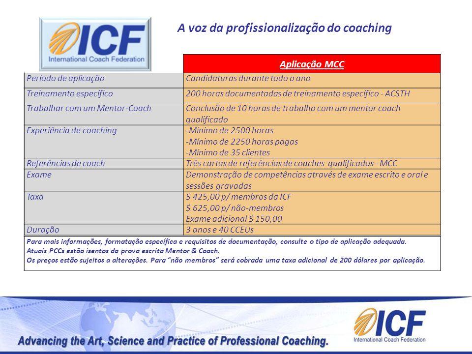 A voz da profissionalização do coaching Aplicação MCC Período de aplicaçãoCandidaturas durante todo o ano Treinamento específico200 horas documentadas
