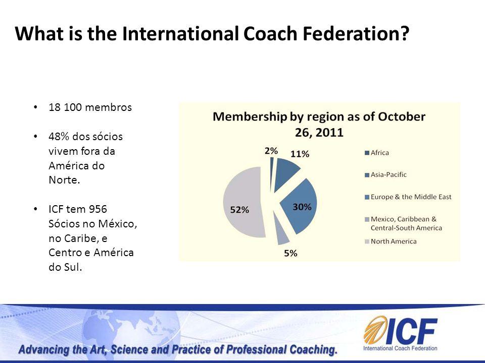 What is the International Coach Federation? 18 100 membros 48% dos sócios vivem fora da América do Norte. ICF tem 956 Sócios no México, no Caribe, e C