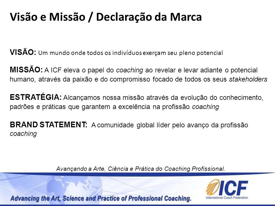 Visão e Missão / Declaração da Marca VISÃO: Um mundo onde todos os indivíduos exerçam seu pleno potencial MISSÃO: A ICF eleva o papel do coaching ao r
