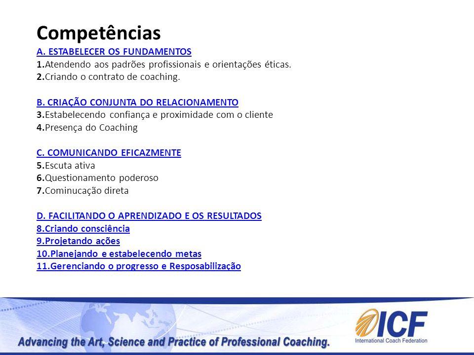 Competências A. ESTABELECER OS FUNDAMENTOS 1.Atendendo aos padrões profissionais e orientações éticas. 2.Criando o contrato de coaching. B. CRIAÇÃO CO