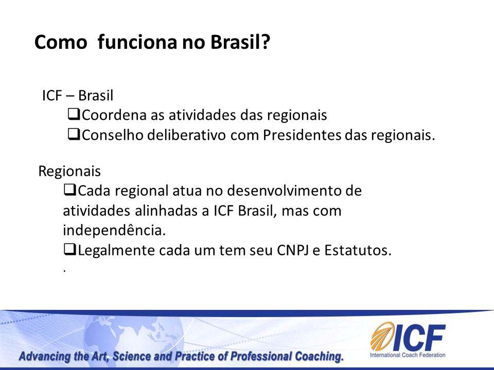 Como funciona no Brasil? ICF – Brasil Coordena as atividades das regionais Conselho deliberativo com Presidentes das regionais. Regionais Cada regiona