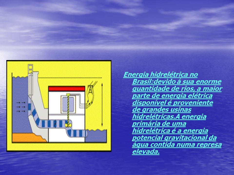Energia hidrelétrica no Brasil:devido á sua enorme quantidade de rios, a maior parte de energia elétrica disponível é proveniente de grandes usinas hi